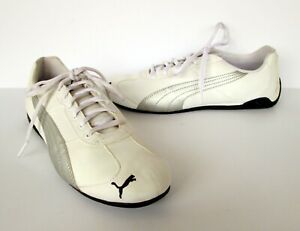 Details about PUMA Womens White & Silver Leather Flats Sneakers Shoes 9.5 M