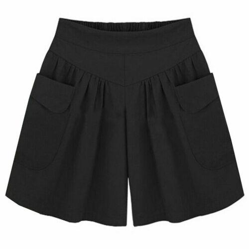 Da Donna Misure Grandi Breve Pantaloni Shorts Bermuda Pantaloni lunghi cavallo basso Spiaggia Estate Pantaloni culotte da donna h94