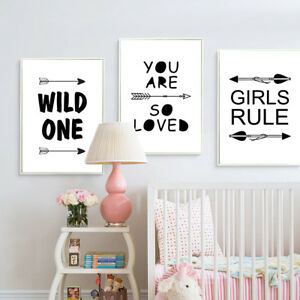Details About Black White Nursery Quote Poster Wall Art Prints Baby Kids Bedroom Decoration