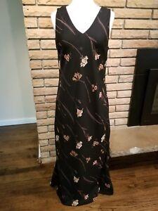 MAGGY-LONDON-Sleeveless-Maxi-Dress-Black-Brown-Floral-Summer-Women-Medium-Party
