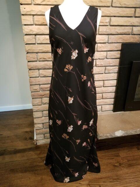 MAGGY LONDON Sleeveless Maxi Dress Black Brown Floral Summer Women Medium Party