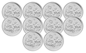 Lot of 5-2016 Australian 1//2 oz Silver Year Of The Monkey .999 Fine BU