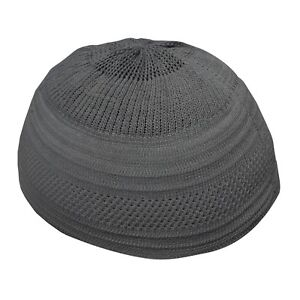 cf77eb0a9ca TheKufi Plain Dark Gray Cotton Stretch-Knit Kufi Hat Skull Cap ...