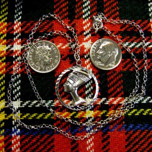 sterling silver new nefertiti pendant /& chain
