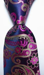 New-Classic-Men-039-s-Tie-Necktie-Paisley-Blue-Red-Gold-100-Silk-JACQUARD-WOVEN