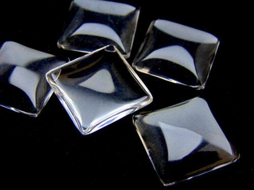 Vidrio Transparente Cuadrado Cabuchones semicirculares Cameo parte posterior plana de 20 Ml