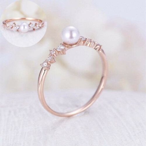 Women/'s Gold Round Size6-10 Gorgeous Rings Cut Rose White Pearl Filled Wedding