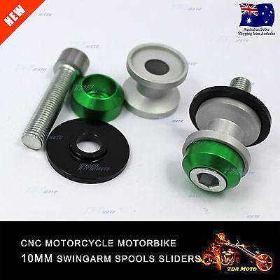 10MM CNC Green Swingarm Spools Set For Kawasaki ER-6N 05-16 06 07 08 09 10 11 12