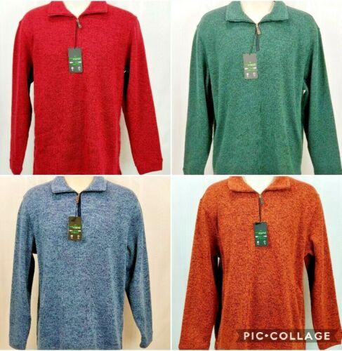 Haggar Mens In Motion Stretch 1//4 Zip Pullover Long Sleeve Fleece Sweater Shirt