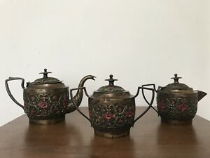 Solid Silver Antique Indian 3 piece Tea Set with gold plating-1850 to 1899