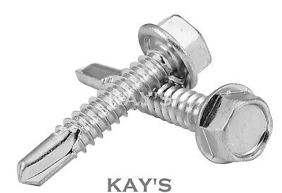 """No.8 x 3//4/"""" A2 STAINLESS STEEL HEXAGON FLANGE HEAD SELF DRILLING SCREWS DIN 7504"""