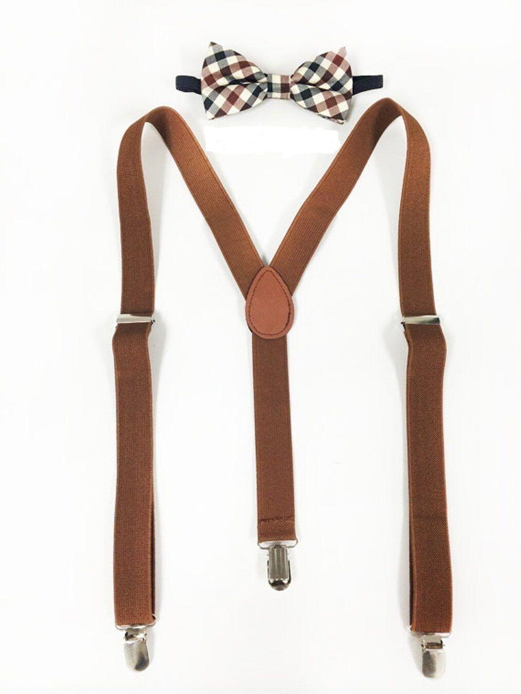 New Brown Suspenders and Bowtie Set, Mens Suspenders Bowtie, Barnyard Wedding