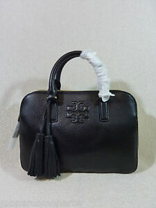 75a99da40024 NWT Tory Burch Black Pebbled Leather Thea Small Rounded Double Zip ...