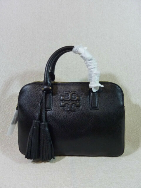 895180e59e59 NWT Tory Burch Black Pebbled Leather Thea Small Rounded Double Zip Satchel   475