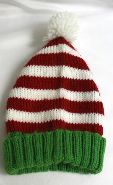 31d7f9e3b8c3b Little Me hat Red White striped Green White Pom Pom Christmas Hat Infant  Holiday