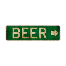 Beer With Right Arrow Decor Wall Man Cave Bar Street Vintage Retro Metal Sign