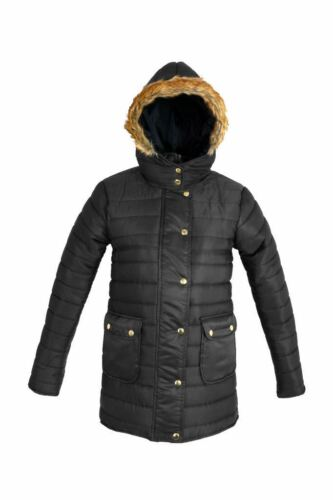 New Ladies Button Up Fur Hooded Quilted Bubble Puffer Padded Jacket Winter Coat