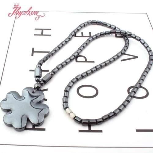 "4x5mm Column Black Hematite Animal Pendant Lady Fashion Necklace Jewelry 17.5/"""