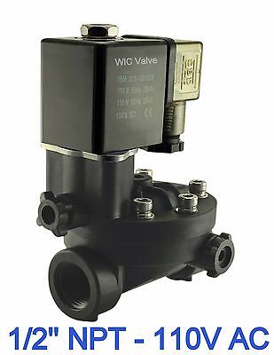 """Electric Manual Override PA66 Plastic Air Water Solenoid Valve 1//2/"""" Inch 110V AC"""