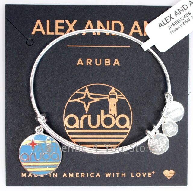 New Alex And Ani Aruba Exclusive Enamel Lighthouse Silver Charm Bangle Bracelet
