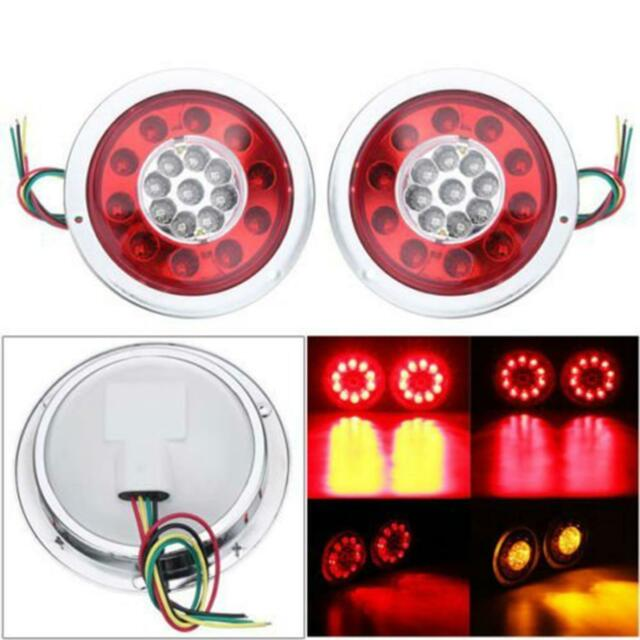 2pcs 4 3inch Round 19 Led Truck Trailer Lorry Brake Stop