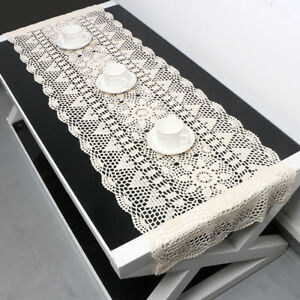 Vintage-Hand-Crochet-Cotton-Lace-Table-Runner-Dresser-Scarf-Doily-15x59inch-Ecru