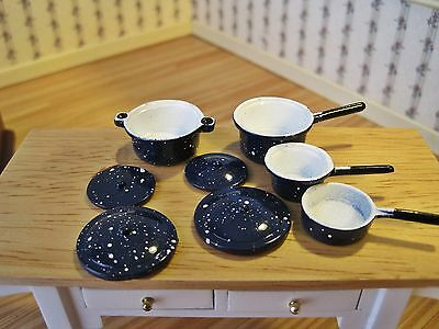 Miniature Dollhouse FAIRY GARDEN Accessories ~ Blue Spatterware Pots /& Pans NEW