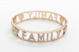 Bracciale Donna Rigido Acciaio Inox Rose Gold Cristalli Bianchi Scritta FAMILY