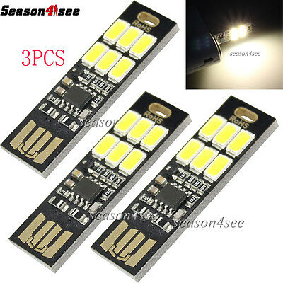 3x 6 LEDs Yellow Light USB Sensor Control Soshine Night Lamp Mini Card Lamp