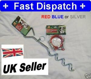 Camping-Garden-Outdoor-Cable-Pet-Dog-Lead-and-Tie-Out-Stake-Tether-Anchor-New