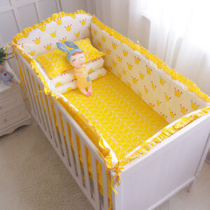 6Pcs-Cotton-Baby-Bedding-Set-Nursery-Crib-Bumper-Bed-Sheet-Pillowcase-Washable