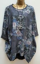 "New Lagenlook GREY Tunic Top Floral Jumper Onesize 16 18 20 22 48"" Bust"