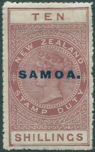 Samoa-1914-SG131-10s-maroon-QV-fiscal-MLH