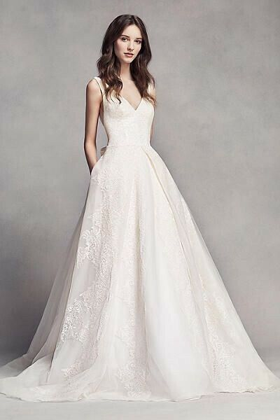 White by Vera Wang V Neck Low Back Lace Wedding Dress