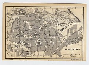 1897 ANTIQUE CITY MAP OF HALBERSTADT SAXONY SACHSEN ANHALT GERMANY