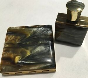 Mid Century Mother of Pearl Decanter & Compact Case Powder Make Up MOP Retro*
