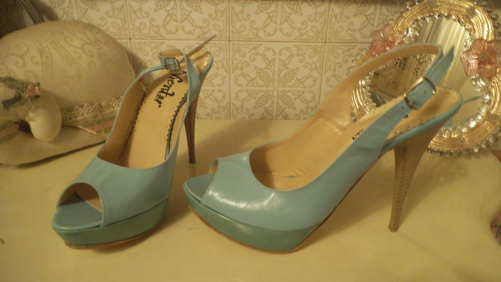MINT GREEN LEATHER OPEN TOE PLATFORM SLINGBACK STILETTOEU38US7,5UK5
