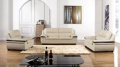 Peachy 3 Pc Light Gray Genuine Leather Sofa Loveseat Chair Living Room Set Ebay Gamerscity Chair Design For Home Gamerscityorg
