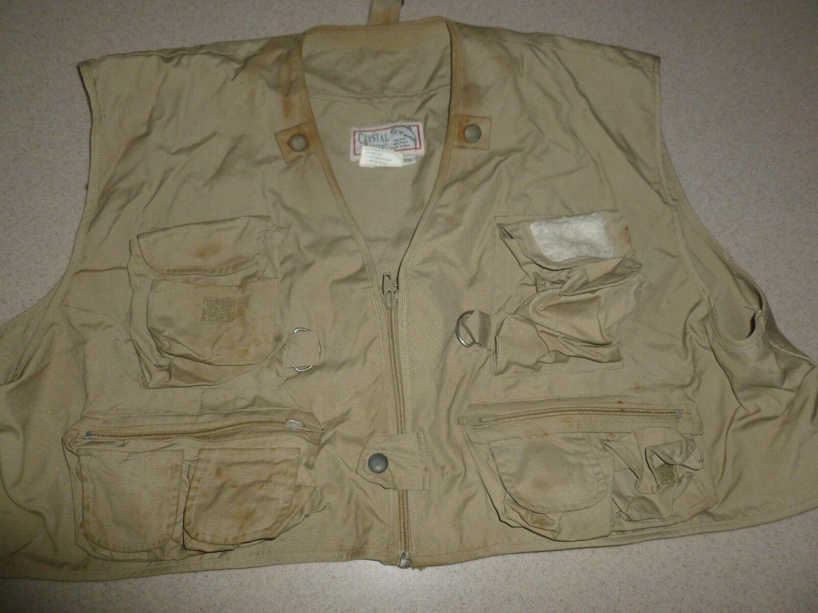 Crystal River Fly Fishing Vest Men's Beige Khaki sz XXL 2XL