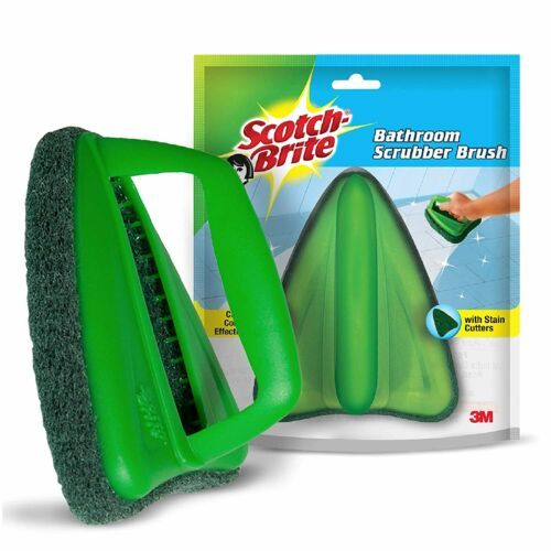 Green 1 PCS Scotch-Brite Bathroom Brush with abrasive scrubber  tile cleaning