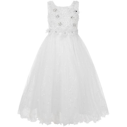 Girls Teenage White Long Formal Bridesmaid Wedding Lace Diamante Dress Gown C991