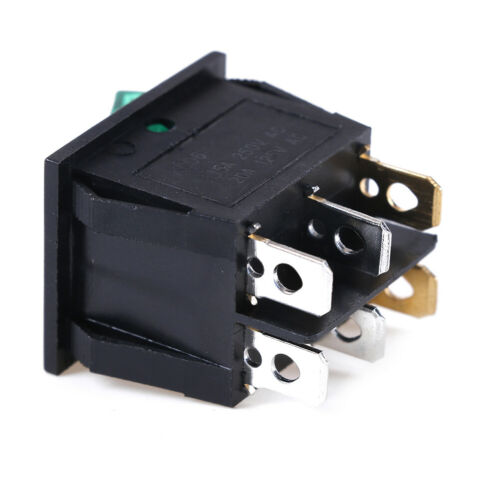 6 pin on//off double spst rocker boat switch 250V//15A 125V//20A red green lighHFHI