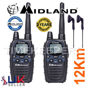 12Km-Midland-G7-Pro-Dual-Band-Walkie-Talkie-Two-Way-PMR-446-Radio-2-Headsets