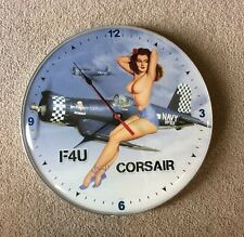 "Corsair F4U ""Made in the USA""  14"" Round Metal Sign Wall Clock Nude Navy C38"
