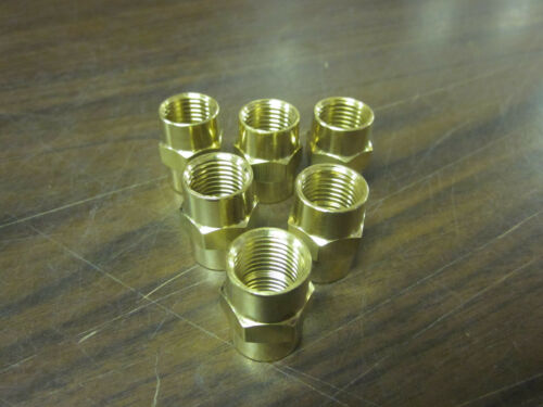 "LOT OF 6 SOLID BRASS 1//4/"" TO 1//4/"" FEMALE THREAD ADAPTOR AIR FITTING BB-6467"