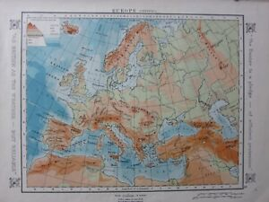 1912 Map Europe Physical Land Heights Alps Atlas Mountains