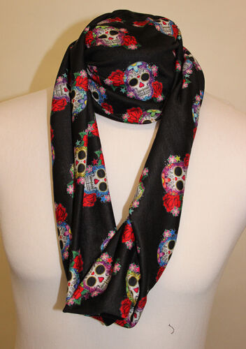 Infinity Scarf Jersey Or Chiffon Candy Skulls Design Unisex Fashion Loop Scarves