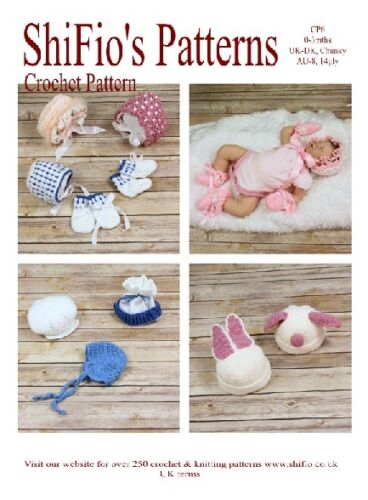 MITTS #6 NOT CLOTHES CROCHET PATTERN for 9  BABY BONNETS HATS BAKER BOY