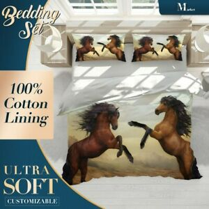 Mustang-Stallion-Animals-Horses-Brown-Quilt-Cover-Cotton-Doona-with-2x-Shams