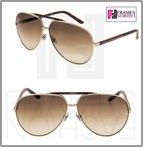 11281ec5361f GUCCI WEB 1933 Gold Metal Aviator Brown Havana Gradient Sunglasses ...